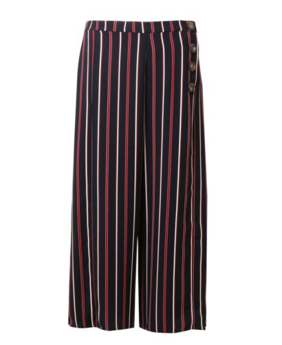 Womens Ladies Wide Leg Multi-Stripe Side Button Cropped Trousers NEW Sizes 10-18