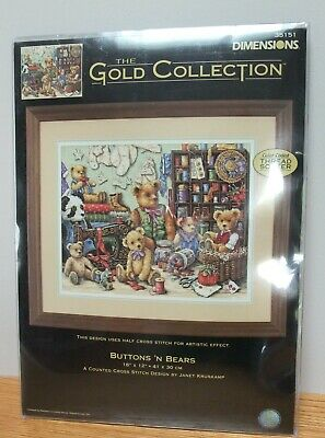 BUTTONS /'N BEARS Counted Cross Stitch Kit DIMENSIONS GOLD COLLECTION