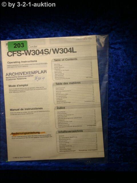 Sony Manual Cfs W304s  Cassette Corder   0203