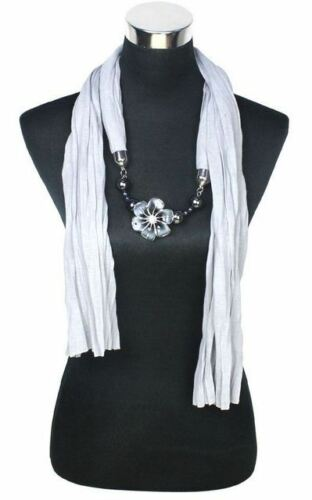 Ladies Pendant Scarf Jewellery Beaded Necklace Shawl Flower Heart Gift Stocking
