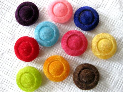 bunt gemischt in 2 Formen ca.20 und 23mm,Acryl A54 10 Samt-Perlen