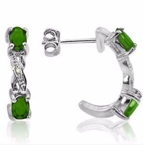 Emerald-e-Diamante-70-CWT-Orecchini-pietre-naturali-Argento-925-ORO-BIANCO-look