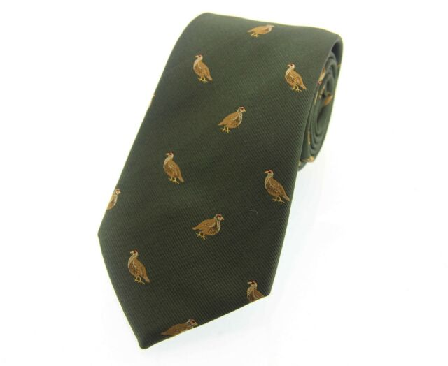 Soprano Green Silk Tie With Flying Pheasant Design game day shotgun  shooting