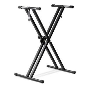 Adjustable-Metal-Music-Keyboard-Electronic-Piano-Dual-Tube-X-Stand-Standard-Rack