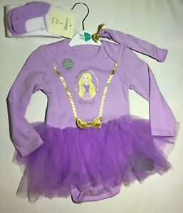 Baby Girl 3 piece Long Sleeve Bodysuit with Rapunzel detail in Lilac