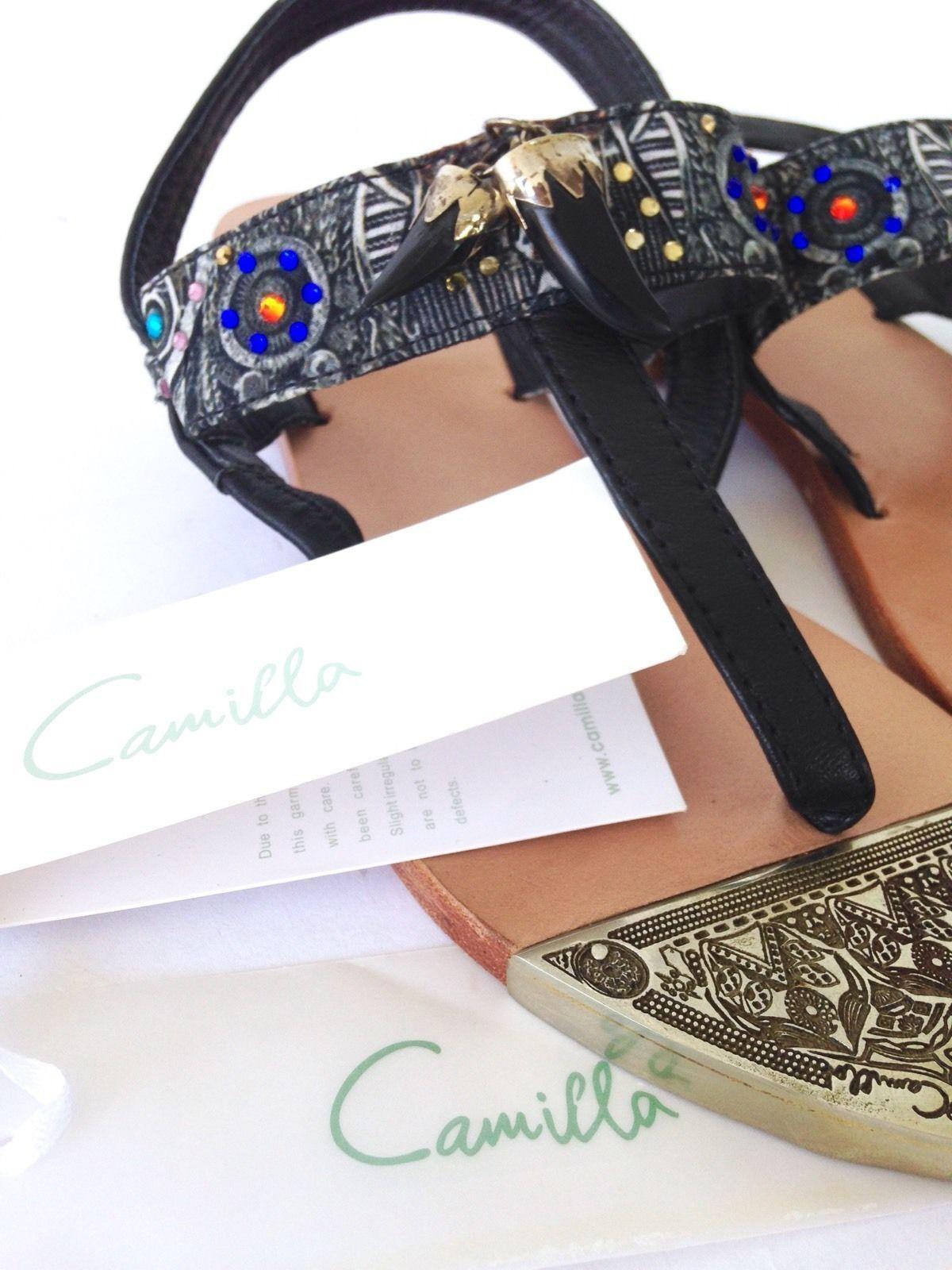 les lanières de cuir chaussures cristaux nouvelles camilla franks feuillet élastiques sur cristaux chaussures plats b6f37f