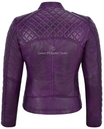inserto Diamond in Shape motociclista pelle donna con Viola in Giacca da stile 8R41qq