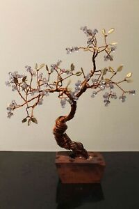 Copper Wire Bonsai Tree Asian With Brass Leaves Clear Beaded Fruit Hand Made Ebay
