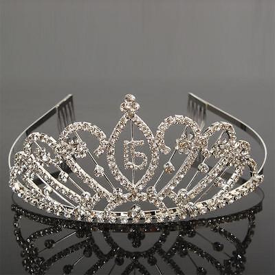 New Popular Elegant 15 Year Old Ceremony Rhinestone Crown Headband Tiaras