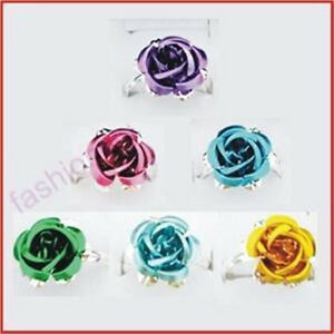 100-Silver-Plated-Big-Flower-Fresh-Colorful-Rose-Ring-1
