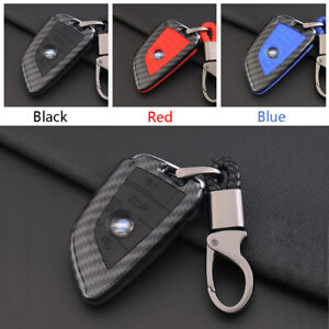 Carbon-Fiber-Shell-Silicone-Cover-Remote-Key-Holder-Fob-Case-For-BMW-B-Style