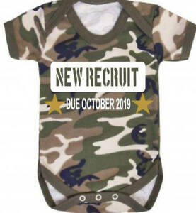 New Recruit personalised army camo camoflague print baby vest due date birth