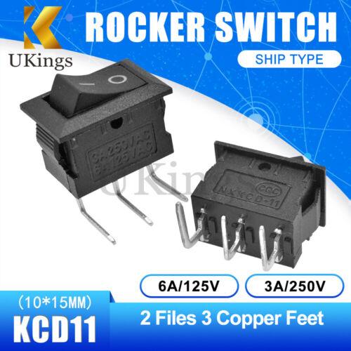 1//5//10PCS 2//3PIN KCD11 15*21MM 3A250V Rocker Boat Switch Terminals ON//OFF 6A125V