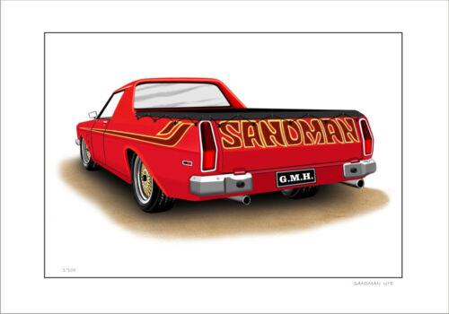6 CAR COLOURS HOLDEN HX HZ SANDMAN UTE   LIMITED EDITION CAR DRAWING PRINT