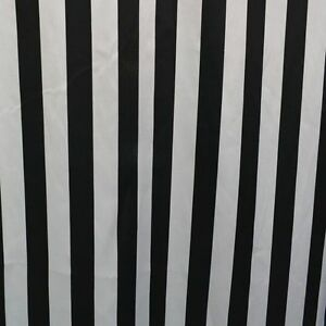 """10 Yards Black & White Stripe Satin Fabric 60"""" Wide Made in USA Seller"""