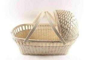 Vintage White Wicker & Wood Baby Bassinet Cradle Carrier