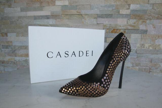5e7dfbcc21da10 Casadei 39 9 Court Shoes High Heels Stilettos Shoes Black Rivet New  Previously