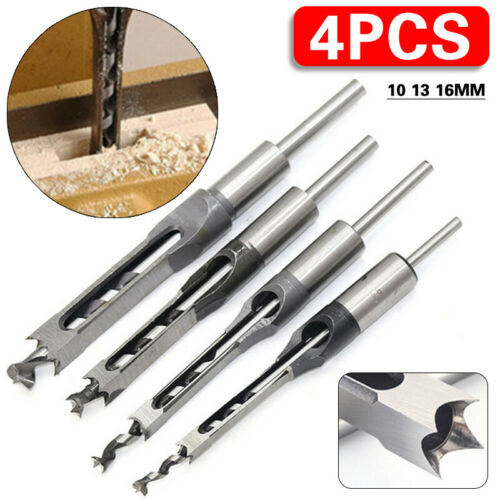 4x Woodworking Square Hole Drill Bits Set for Wood Saw Mortising Chisel Cutter