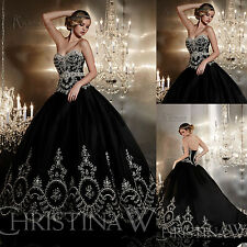 Black Gothic Embroidery Wedding Dresses Prom Pageant Sweet 15 Quinceanera Dress