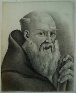 Pencil-drawing-around-1800-Man-Monk-With-Beard-MONK-PORTRAIT-High-Quality