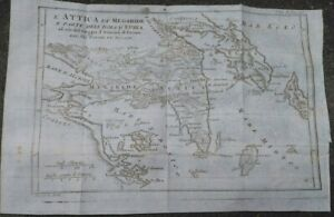 1790-GRECIA-BELLA-CARTA-GEOGRAFICA-ATTICA-GOLFO-SARONICO-ISOLA-EGINA-MIRTOO