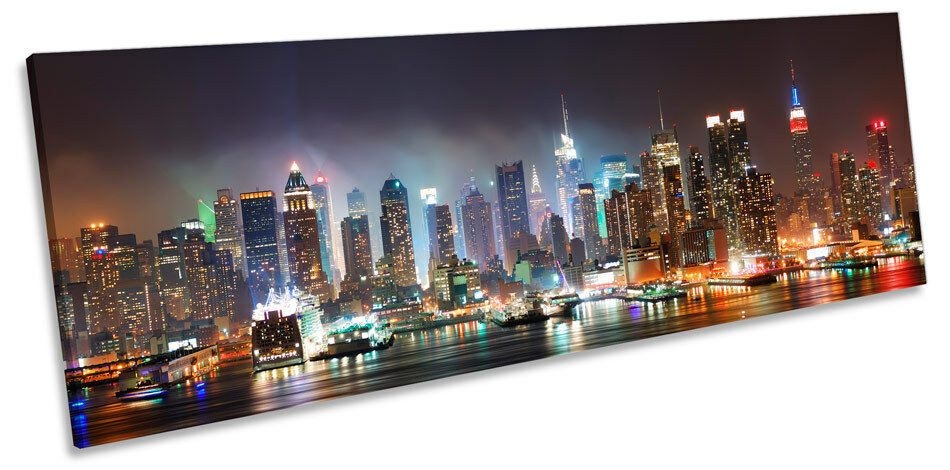 New York City Skyscrapers Night CANVAS WALL ART Panoramic Framed Print