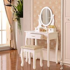 3 Drawer&Mirror Makeup White Vanity Dressing Table Set w/Stool Jewelry Wood Desk
