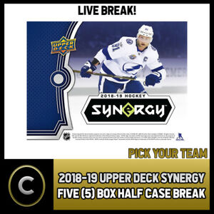 2018-19-UPPER-DECK-SYNERGY-5-BOX-HALF-CASE-BREAK-H261-PICK-YOUR-TEAM