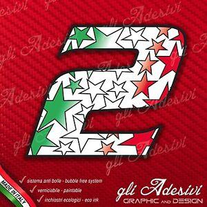 Adesivo Stickers NUMERO 3 moto auto cross gara Rosso /& Tricolore