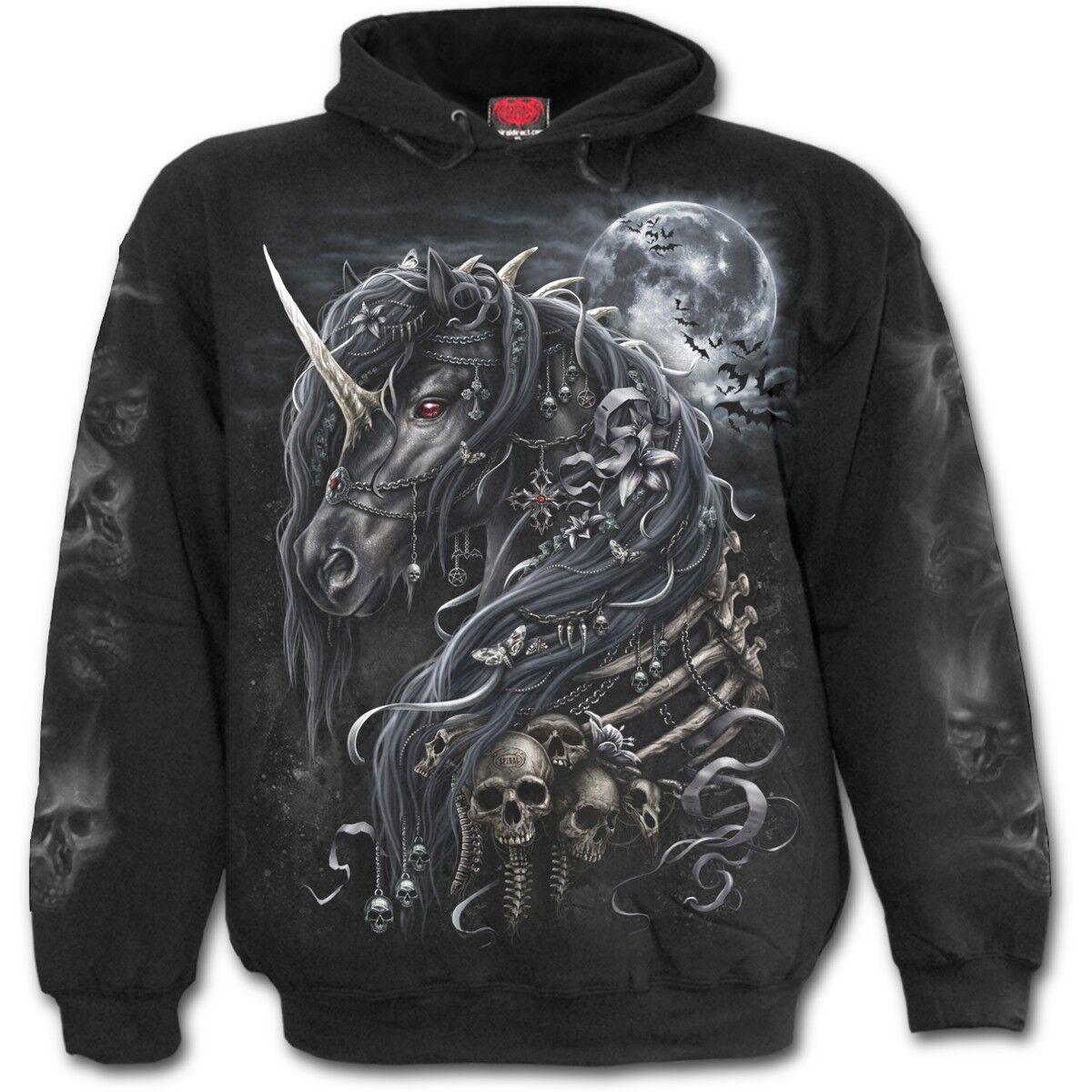 SPIRAL DIRECT DARK UNICORN Hoodie Horse/Skulls/Gothic/Punk/Metal/Pullover