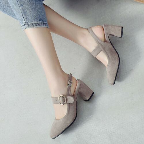 Details about  /Women Slingback Sandals Ankle Strapppy Pointed Toe Block High Heeled Pumps Shoes
