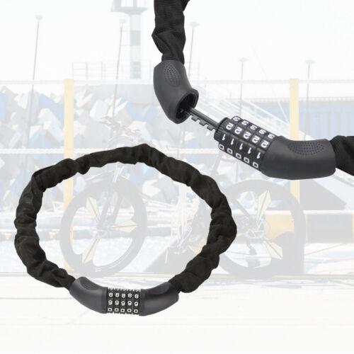 Fahrradschloß Stahl schwarz mit Stahlkettengliedern Zahlenschloss 90cm-120cm
