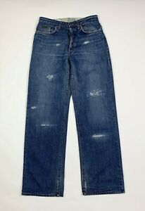 DG-dolce-gabbana-jeans-uomo-usato-W32-tg-46-destroyed-gamba-dritta-denim-blu