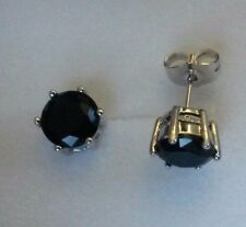 6-pin black tourmaline 18K silver WHITE GOLD fill 7mm round stud earrings BOXED