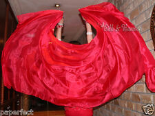 "solid bordeaux 3yd*45/"" belly dance silk veil+bag edges rolled light paj silk"