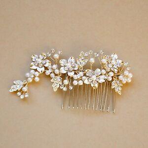 Gold Hair Comb, Crystal Pear,l Bridal Hair Piece, Wedding Jewelry