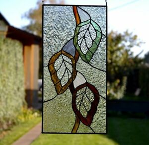 Ebay Stained Glass Panels.Details About Autumn Leaf Suncatcher Stained Glass Panel Glass Window Hanging