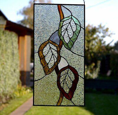 Autumn Leaf Suncatcher Stained Gl Panel Window Hanging 23589377257 Ebay