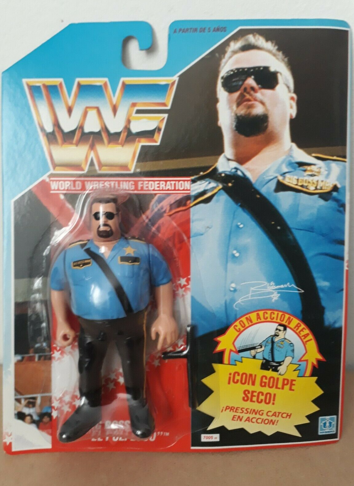 WWF BIG BOSS MAN EL POLI LOCO MB HASBRO SPANISH CARD RARE