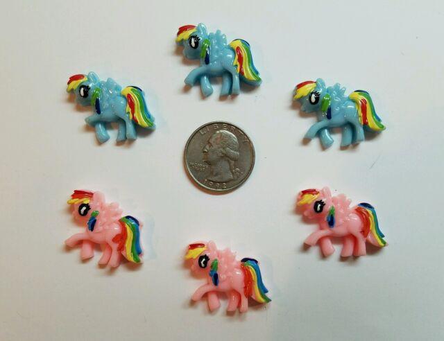 6 Pcs Lot My little pony Flatback Resin Cabochon Hair Bow Center Supplies.