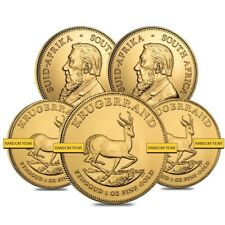 Sale Price - Lot of 5 - 1 oz South African Krugerrand Gold Coin BU (Random Year)