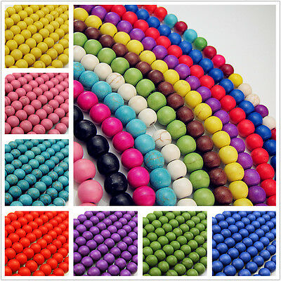 Free Turquoise Round Charms spacer Gemstone Loose Beads Jewelry Making 4/6/8mm