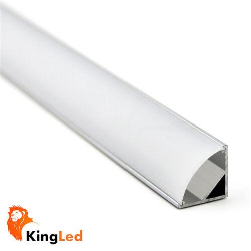 Set Profile Aluminum LED 1mt//2mt 1616 Angular Round with corks cover hooks