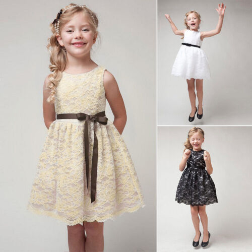 Girl Kids Hollow Out Flower Lace Tutu Dress Princess Sleeveless Party Birthday