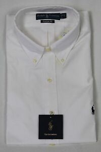 Polo-Ralph-Lauren-White-Button-Down-Classic-Fit-Dress-Shirt-Navy-Blue-Pony-NWT