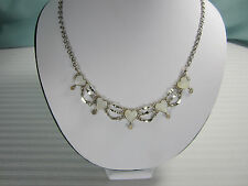Peru Hearts Necklace 5 White Quartz Hearts 17 ins  Nickel Silver New