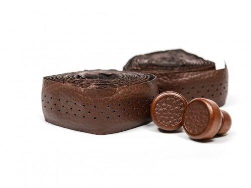 Ducas  Soft leather Handle Bar Tape Brown ROAD BIKE Black wooden caps