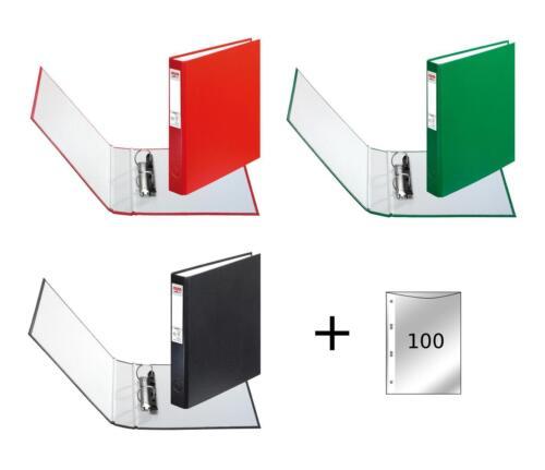 3 Ringbücher DIN A5 Ringbuch je 1x grün rot schwarz 100 Prospekthüllen