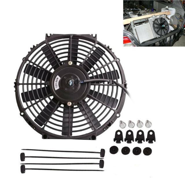 """Car Electric Plastic Cooling Fan Radiator Black With Mounting Kit 12V 80W 12/"""""""