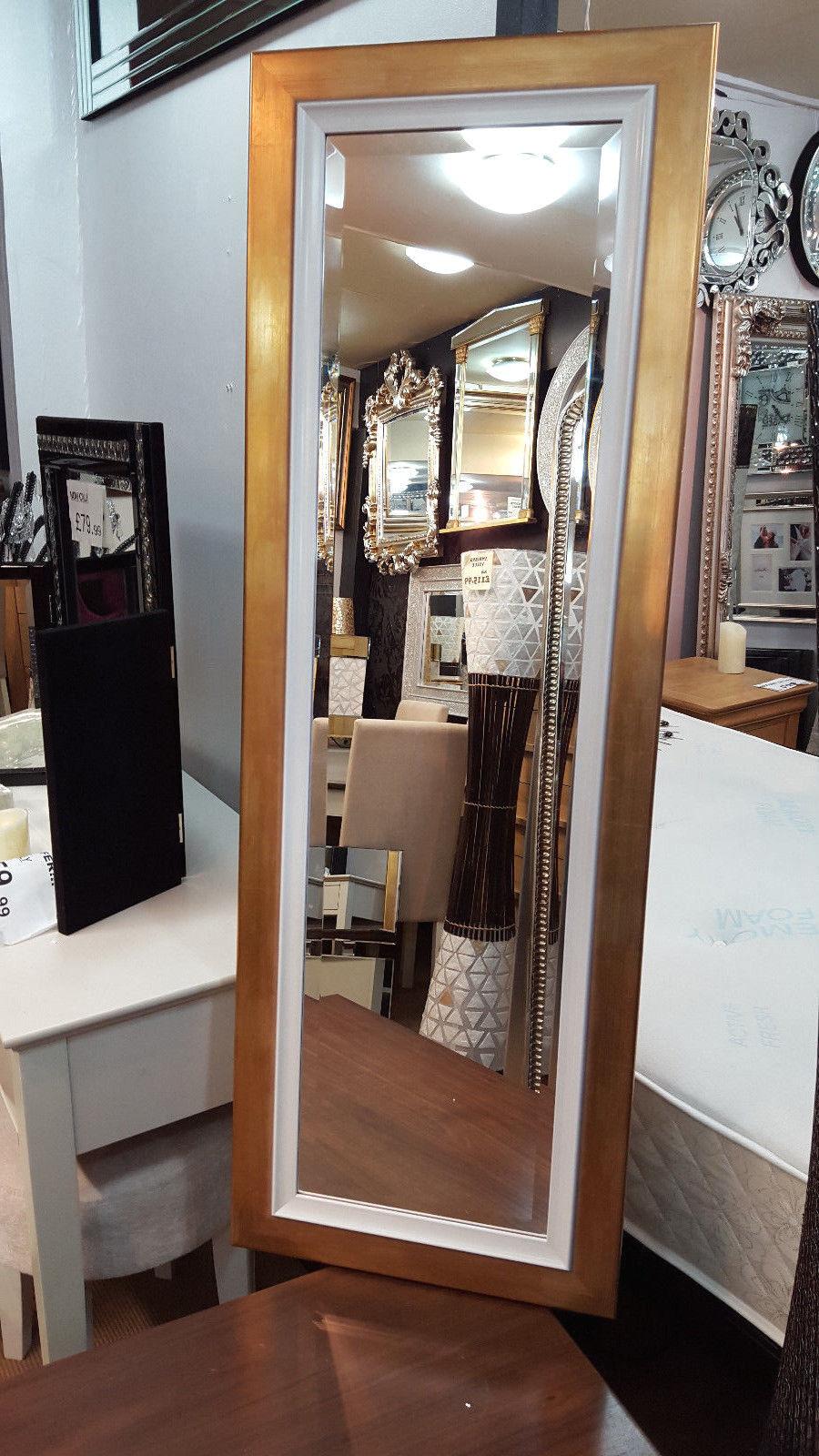 Bodenlang Gold Weiß Wand Spiegel Abgeschrägt Qualität Glas 130x45cm Holz Rahmen